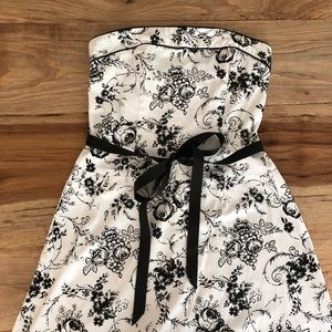Black and white strapless floral dress